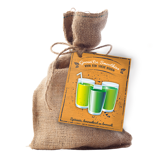 Goede bodem – Groente Smoothies (Jute A6 Touwtje)